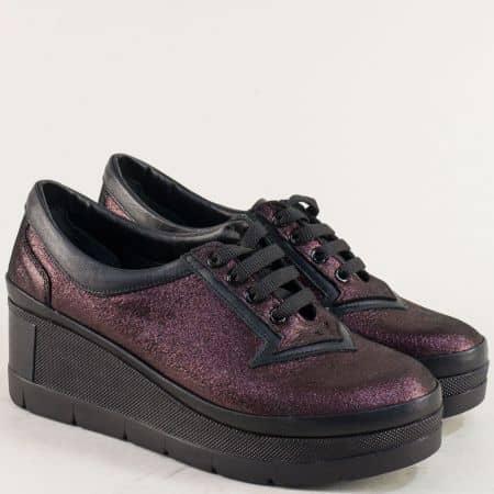 Дамски обувки в цвят бордо от естествена кожа и сатен 808sbd