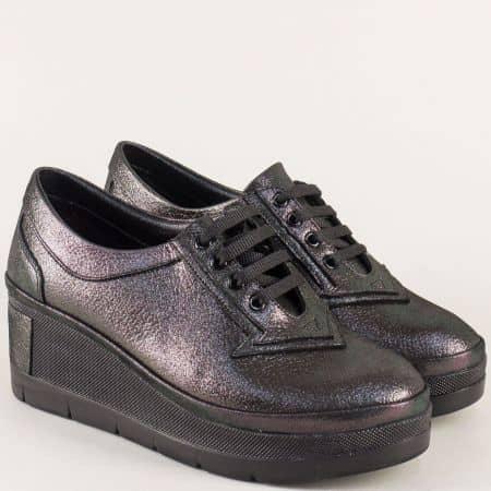 Черни дамски обувки с връзки от естествена кожа и сатен 808sch