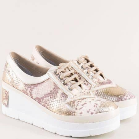 Бежови дамски обувки на платформа от естествена кожа 808zps