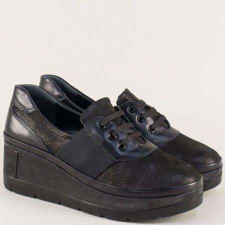 Черни дамски обувки от естествена кожа на платформа 809ch