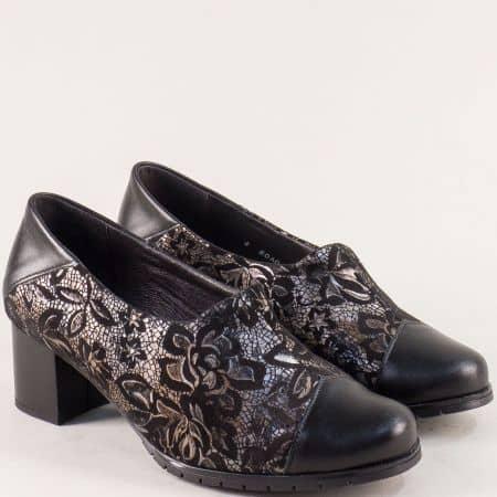 Кожени дамски обувки в черно и бронз- ALPINA 80a01ch