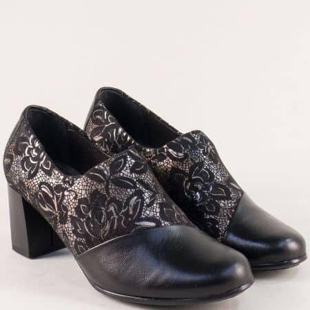 Дамски обувки на среден ток в черно и бронз- ALPINA 80g02ch