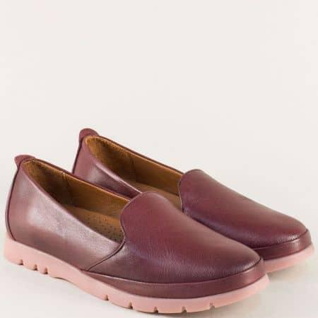 Дамски обувки в цвят бордо от естествена кожа и каучук 8100bd