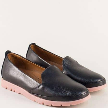 Черни дамски обувки от естествена кожа на каучуково ходило 8100ch