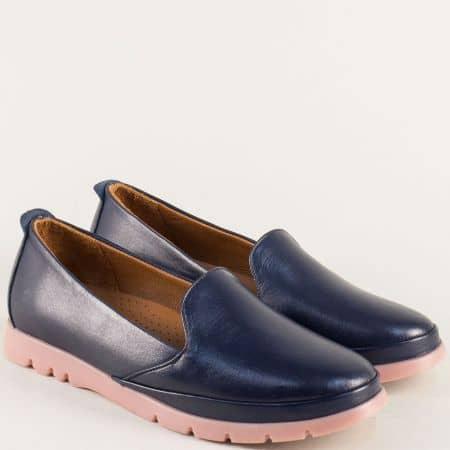 Тъмно сини дамски обувки от естествена кожа и каучук 8100s