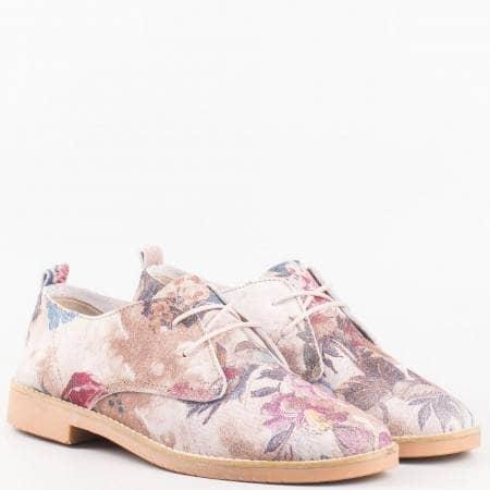 Дамска обувка със свежа визия от висококачествена естествена кожа в цветова комбинация 8105ps