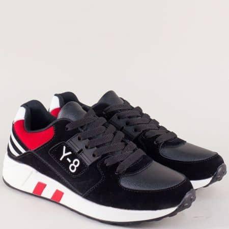 Дамски маратонки с връзки в бяло, червено и черно 8137-40ch