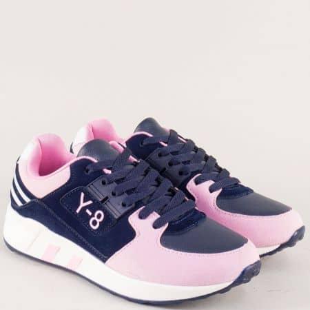 Дамски маратонки с връзки в розово, синьо и бяло 8137-40rz