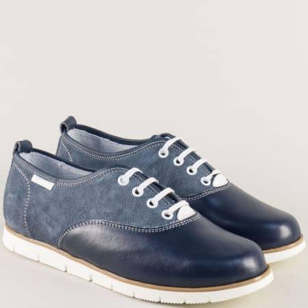 Сини дамски обувки с връзки от естествен велур и кожа 813s