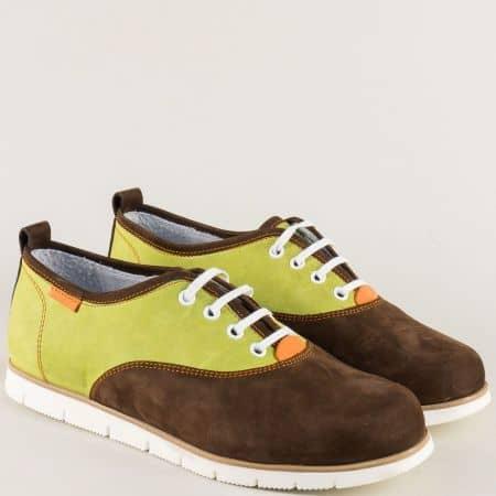 Дамски обувки от естествен набук в зелено и тъмно кафяво 813zk