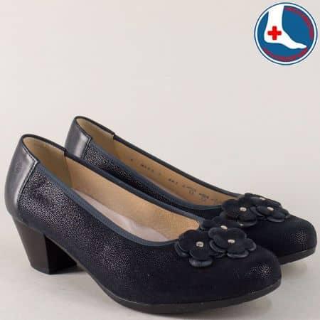 Дамски обувки на нисък ток от синя естествена кожа 8151s