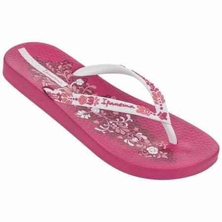 Бразилски розови джапанки- дамски с лента между пръстите и комфортно ходило с флорални мотиви 8169921977