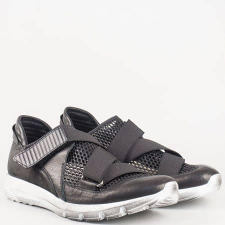 Модерни мъжки спортни обувки Navvi с мрежа и лепенка в черен цвят 8176ch