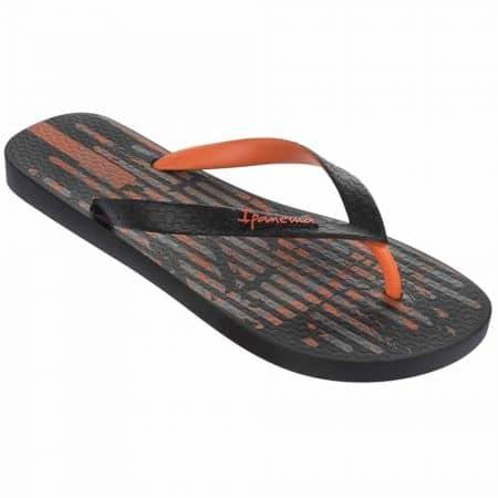 Гъвкави мъжки джапанки с лента между пръстите на бразилският производител Ipanema в черно, сиво и оранж 8171123793