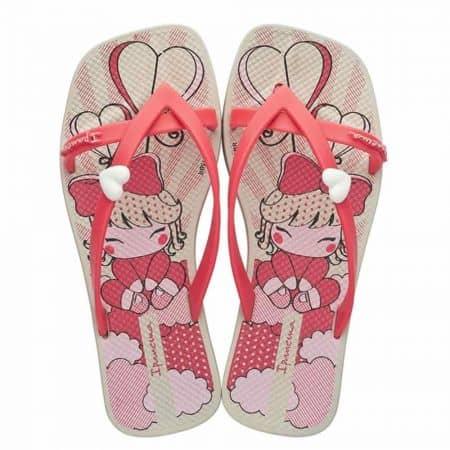 Комфортни детски джапанки с лента между пръстите, нежна декорация и ефектен принт- Ipanema в бежово, бяло, розово и черно  8172221964