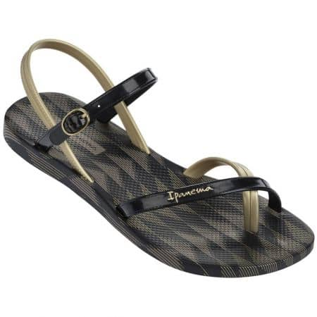 Модерни дамски сандали между пръстите Ipanema в черен и златист цвят 8192921117