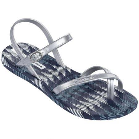 Равни дамски сандали Ipanema в син и сребрист цвят на бразилската марка Ipanema 8192921345