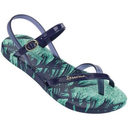 Удобни дамски сандали между пръстите Ipanema в син и зелен цвят на равно ходило 8192922497