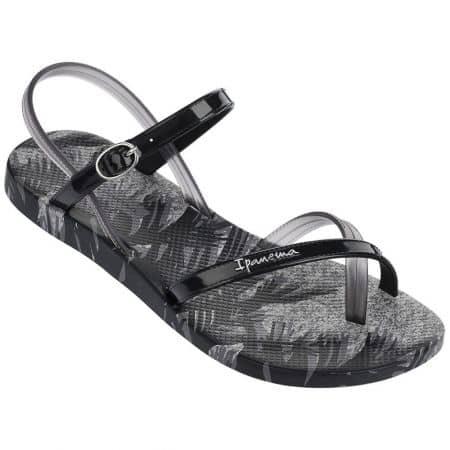 Комфортни дамски сандали Ipanema на равно ходило в сив и черен цвят 8192922999