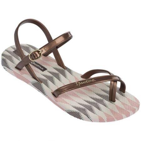 Дамски сандали в бежов и бронзов цвят на равно ходило  8192923555