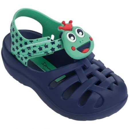 Бразилски детски сандали на равно ходило и затворени пръсти в син и зелен цвят 8194823566