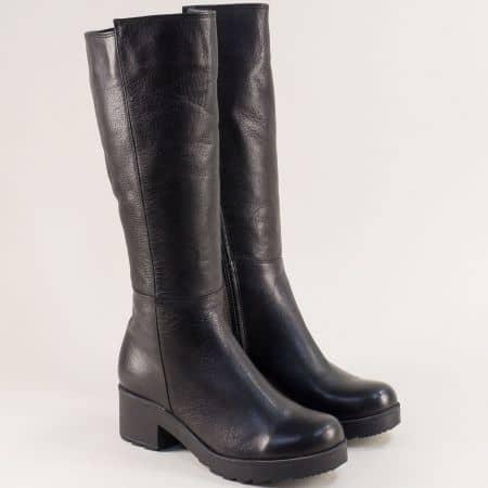 Черни дамски ботуши на среден ток от естествена кожа 821463ch