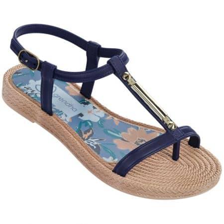 Тъмно сини дамски сандали между пръстите Grendha на равно ходило  8215890103