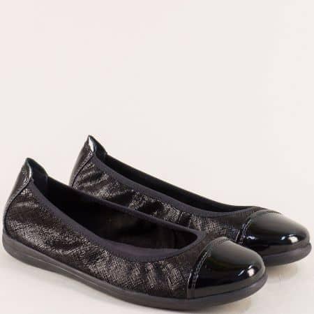 Дамски обувки на равно ходило с кожена стелка в черно 822100ch