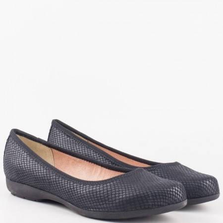 Дамски комфортни обувки, тип балерини, със змийски принт на немския производител Jana в черен цвят 822103zch