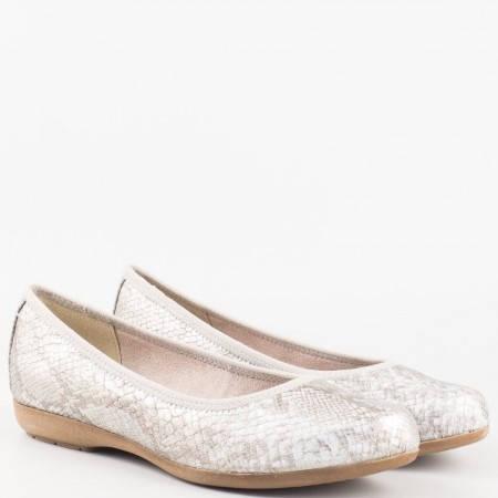 Дамски стилни обувки, тип балерини, със ефектен змийски принт на Jana в сребърен цвят 822113zsr