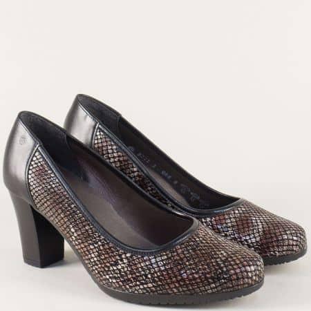 Пъстри дамски обувки на висок ток от естествена кожа 82212ps