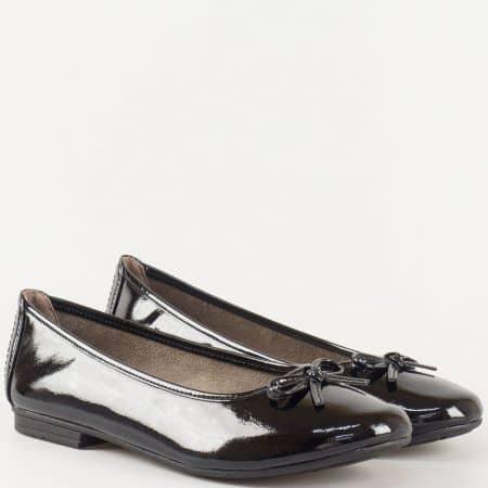 Дамски стилни обувки, тип балерини, на удобно ходило на немската марка Jana в черен цвят 822163lch