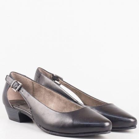 Интересни дамски обувки на нисък ток с вградена Flex - Comfort система от черна естествена кожа- Jana 822203ch
