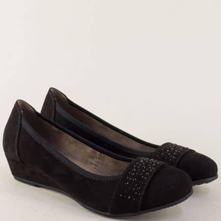 Немски дамски обувки на клин ходило в черен цвят 822260vch