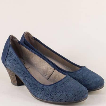 Велурени дамски обувки на среден ток в син цвят- Jana 82230120vs