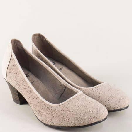 Бежови дамски обувки от естествен велур на среден ток 82230128vbj