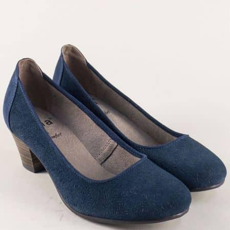 Дамски обувки от син естествен велур на среден ток- Jana 82230128vs