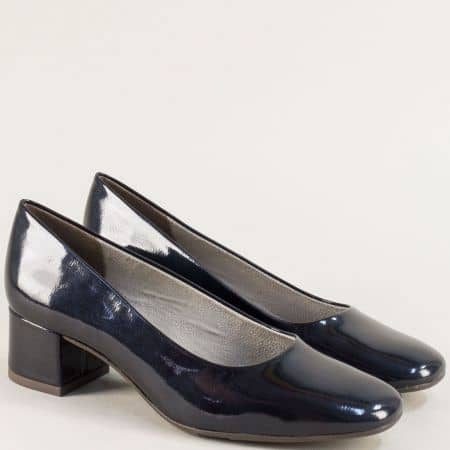 Сини лачени дамски обувки Jana на нисък ток 822302ls