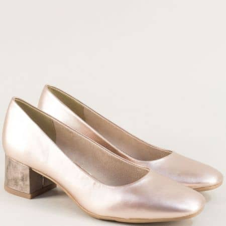 Дамски обувки на нисък ток в розов цвят с перлен блясък 822302rz