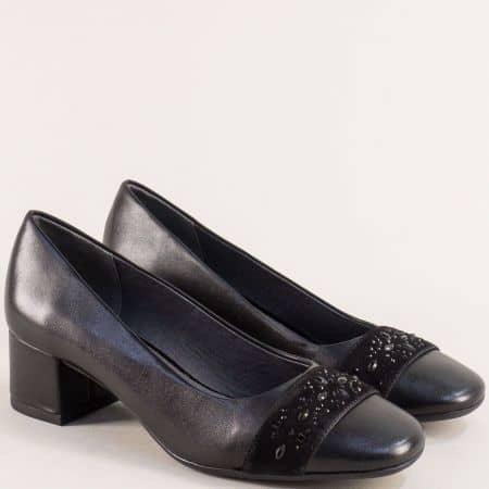 Черни дамски обувки на среден ток от естествена кожа  822303ch