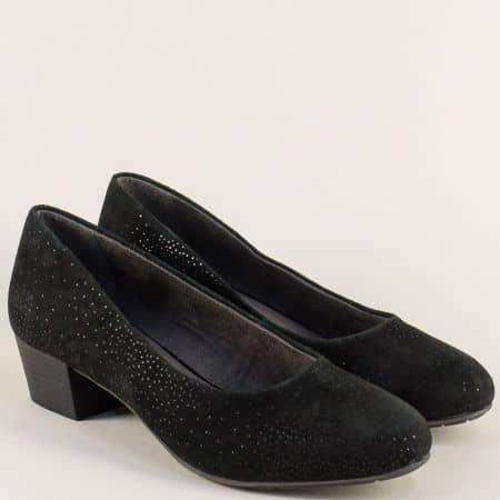 Велурени дамски обувки на среден ток в черен цвят- Jana 822305vch