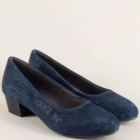 Дамски обувки на среден ток от естествен велур в син цвят 822305vs