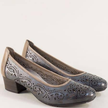 Перфорирани дамски обувки на нисък ток в син цвят 822306s