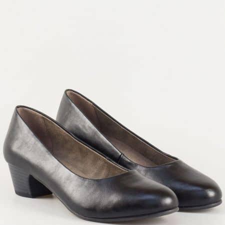 Семпли дамски обувки на среден ток в черен цвят 822360ch