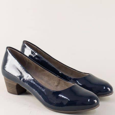 Лачени дамски обувки Jana на среден ток в синьо 822360lts