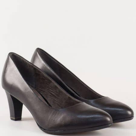 Черни, кожени дамски обувки- Jana на висок ток с Anti-shock система 822402ch