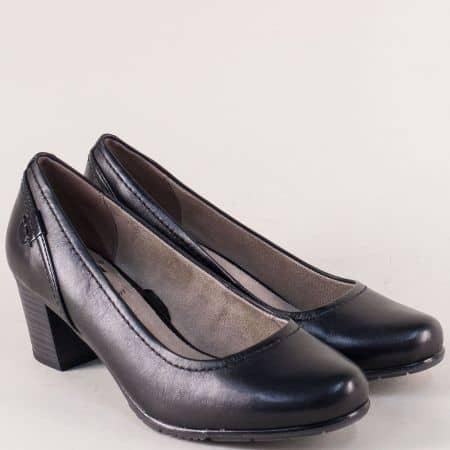 Кожени дамски обувки на среден ток в черен цвят- Jana 82240420ch