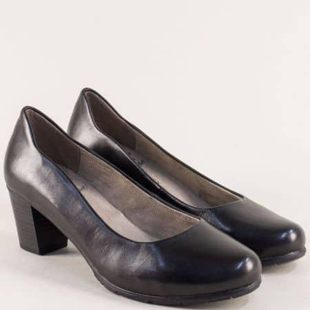 Черни дамски обувки от естествена кожа на среден ток 82240422ch