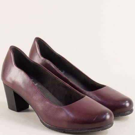 Кожени дамски обувки на среден ток в цвят бордо- Jana 82240423bd