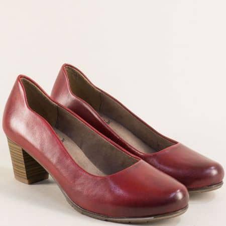 Червени дамски обувки на среден ток от естествена кожа 82240423chv